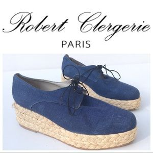 ROBERT CLERGERIE denim platform shoes 9 1/2 blue 9